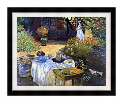Claude Monet Le Dejeuner canvas with modern black frame