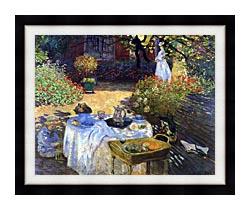 Claude Monet Le Dejeuner canvas with modern black frame