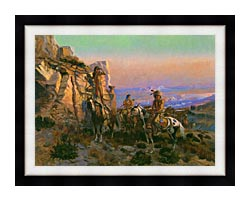 Charles Russell Trouble Hunters canvas with modern black frame
