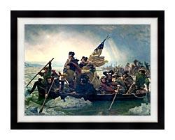 Emanuel Leutze Washington Crossing The Delaware canvas with modern black frame