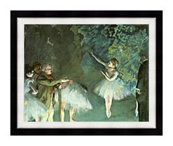 Edgar Degas Ballet Rehearsal canvas with modern black frame