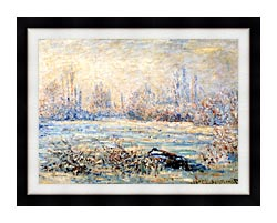 Claude Monet Frost Near Vetheuil canvas with modern black frame