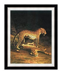 Jacques Laurent Agasse Two Leopards canvas with modern black frame