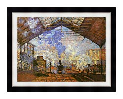 Claude Monet La Gare Saint Lazare canvas with modern black frame