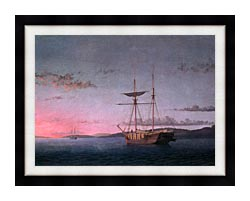 Fitz Hugh Lane Lumber Schooners At Evening On Penobscot Bay canvas with modern black frame