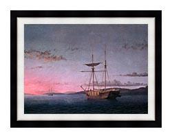 Fitz Hugh Lane Lumber Schooners At Evening On Penobscot Bay canvas with modern black frame