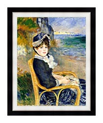 Pierre Auguste Renoir By The Seashore canvas with modern black frame