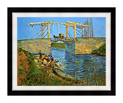 Vincent Van Gogh The Langlois Bridge At Arles With Women Washing canvas with modern black frame