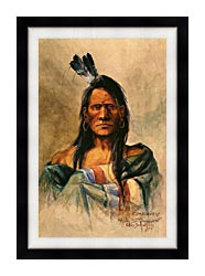 Charles Russell Indian Head canvas with modern black frame