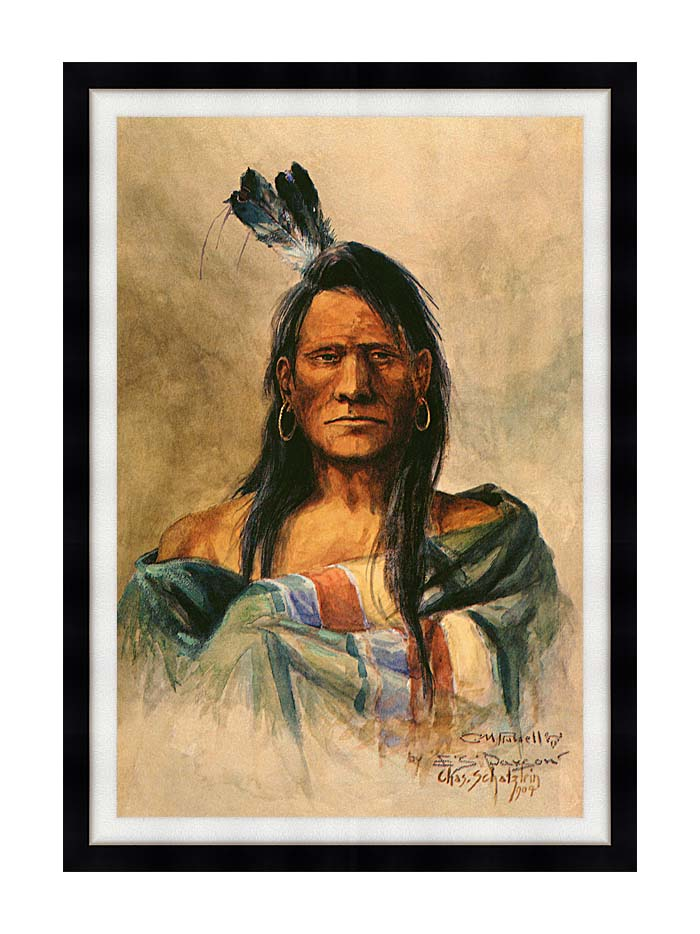 Charles Russell Indian Head with Modern Black Frame