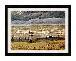 Vincent Van Gogh Beach At Scheveningen In Stormy Weather canvas with modern black frame