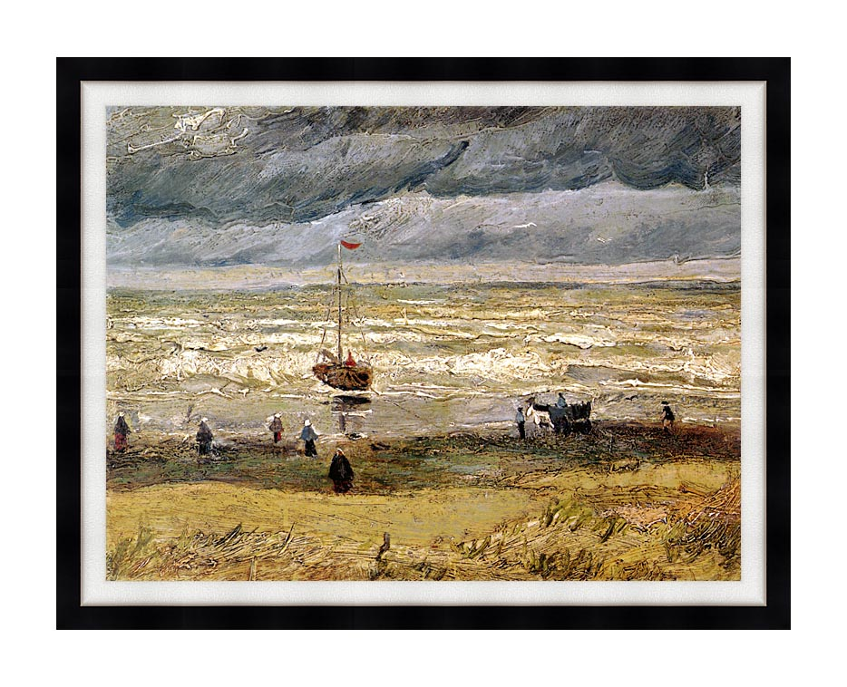 Vincent van Gogh Beach at Scheveningen in Stormy Weather with Modern Black Frame