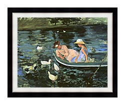 Mary Cassatt Summertime canvas with modern black frame