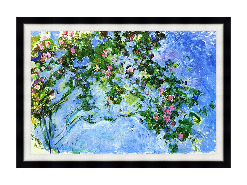 Claude Monet The Roses with Modern Black Frame