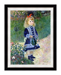 Pierre Auguste Renoir A Girl With A Watering Can canvas with modern black frame