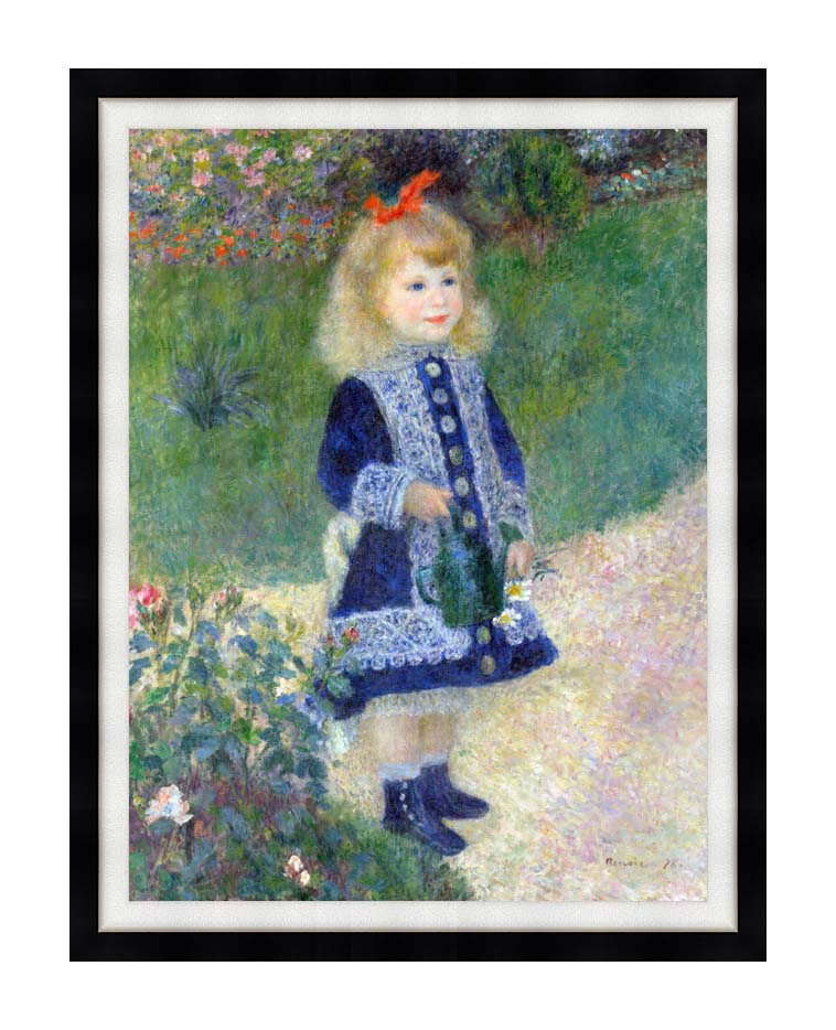 Pierre Auguste Renoir A Girl with a Watering-Can with Modern Black Frame