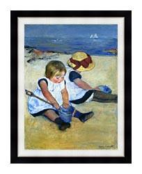 Mary Cassatt Children Playing On The Beach canvas with modern black frame