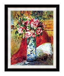 Pierre Auguste Renoir Roses In A Vase canvas with modern black frame