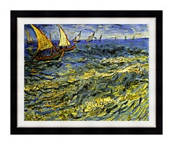Vincent Van Gogh Seascape At Saintes Maries canvas with modern black frame