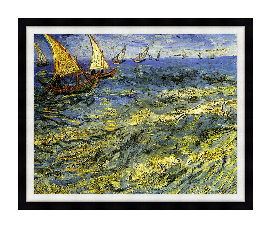 Vincent van Gogh Seascape at Saintes-Maries with Modern Black Frame