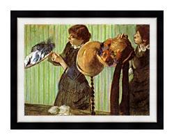 Edgar Degas Little Milliners canvas with modern black frame