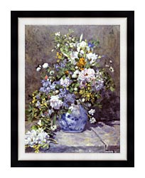 Pierre Auguste Renoir Spring Bouquet canvas with modern black frame