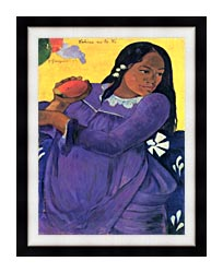 Paul Gauguin Woman With Mango canvas with modern black frame
