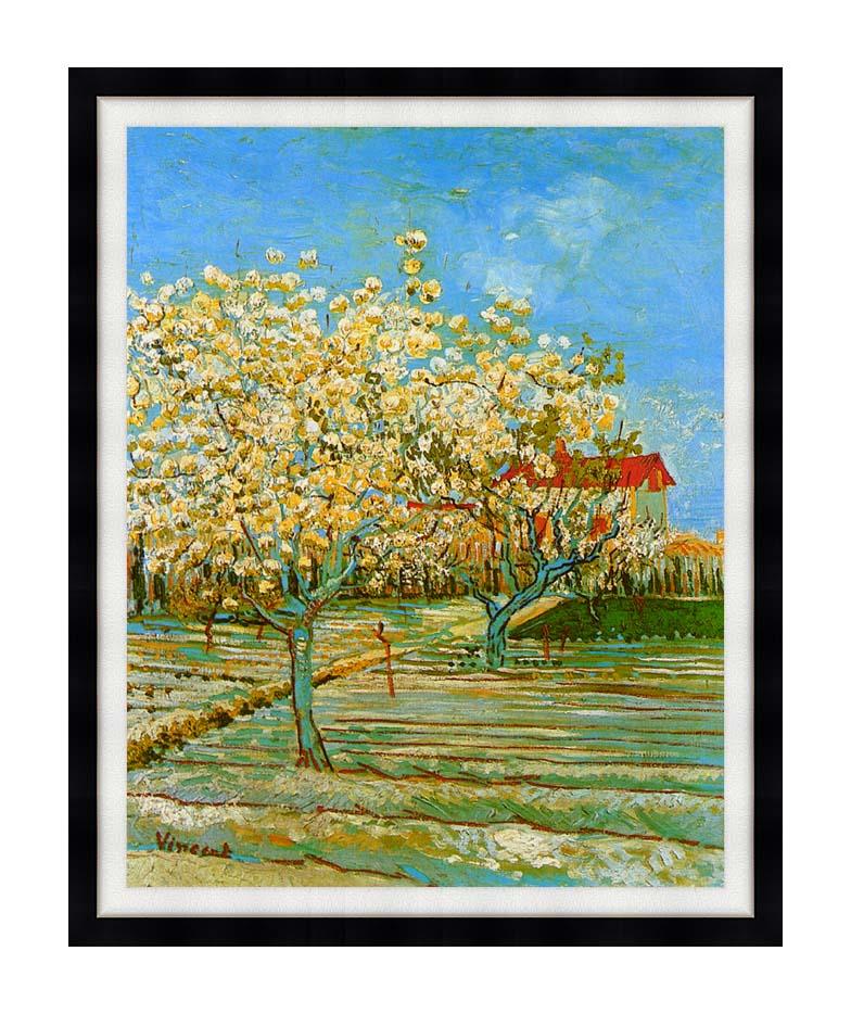 Vincent van Gogh Orchard in Blossom with Modern Black Frame