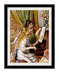 Pierre Auguste Renoir At The Piano canvas with modern black frame