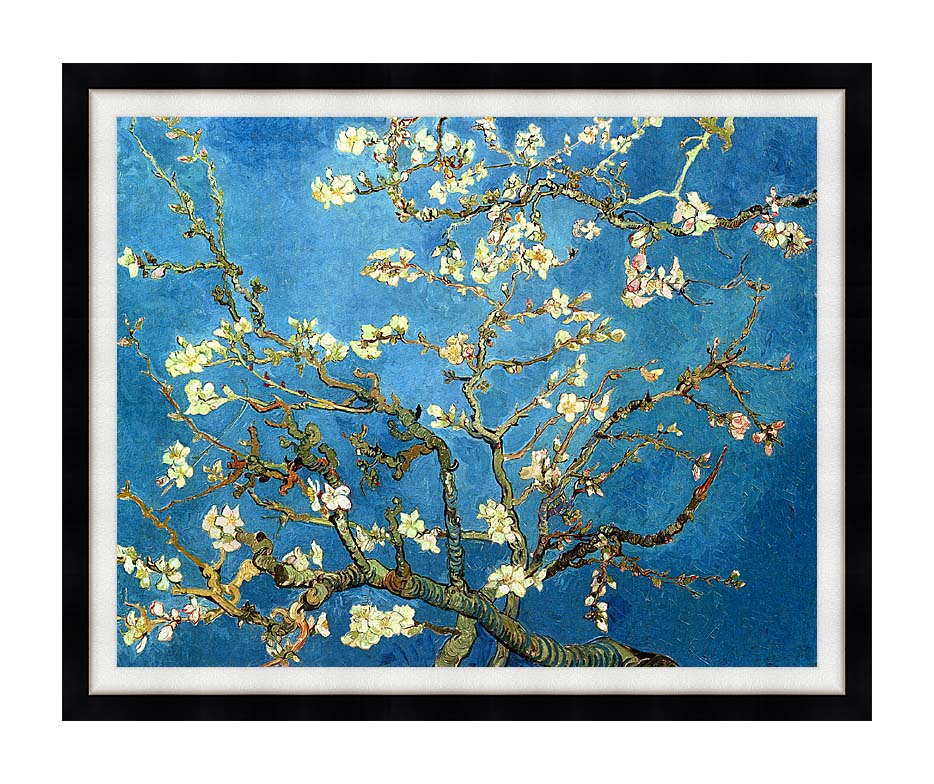 Vincent van Gogh Almond Blossom with Modern Black Frame
