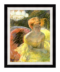 Mary Cassatt At The Theater Woman In A Loge canvas with modern black frame