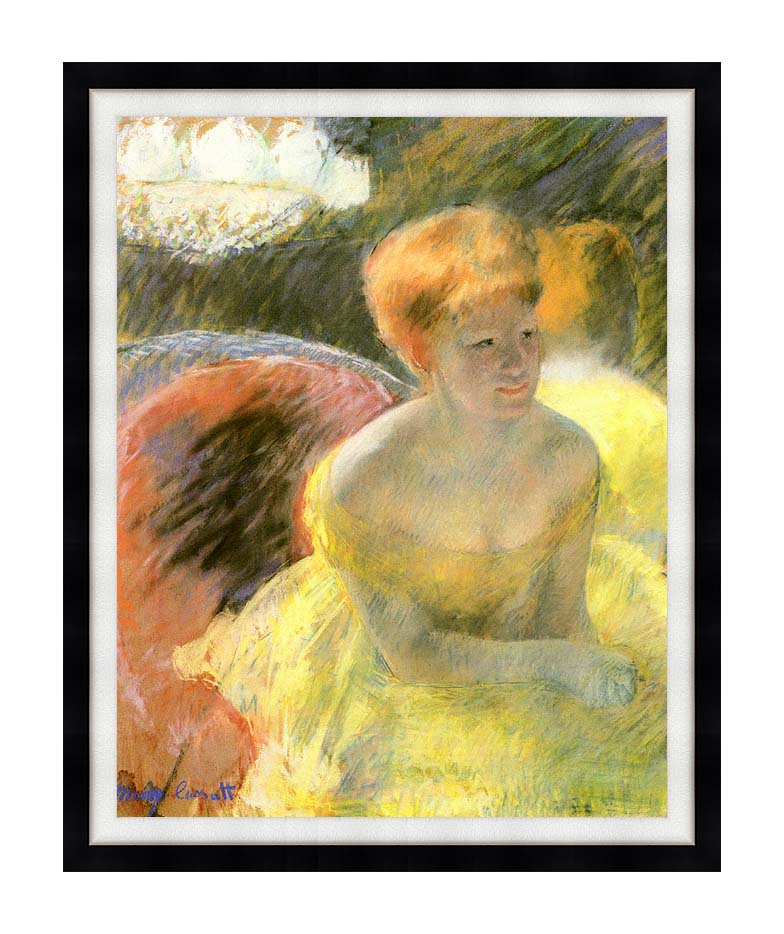Mary Cassatt At the Theater (Woman in a Loge) with Modern Black Frame