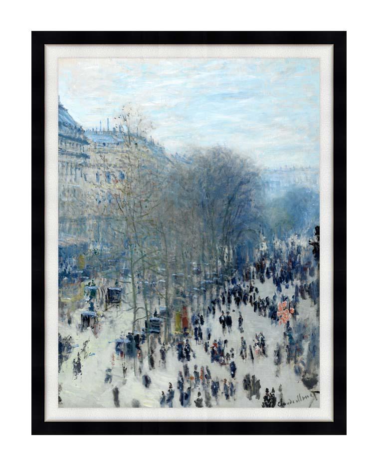 Claude Monet Boulevard des Capucines with Modern Black Frame