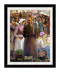 Camille Pissarro Market At Pontoise canvas with modern black frame
