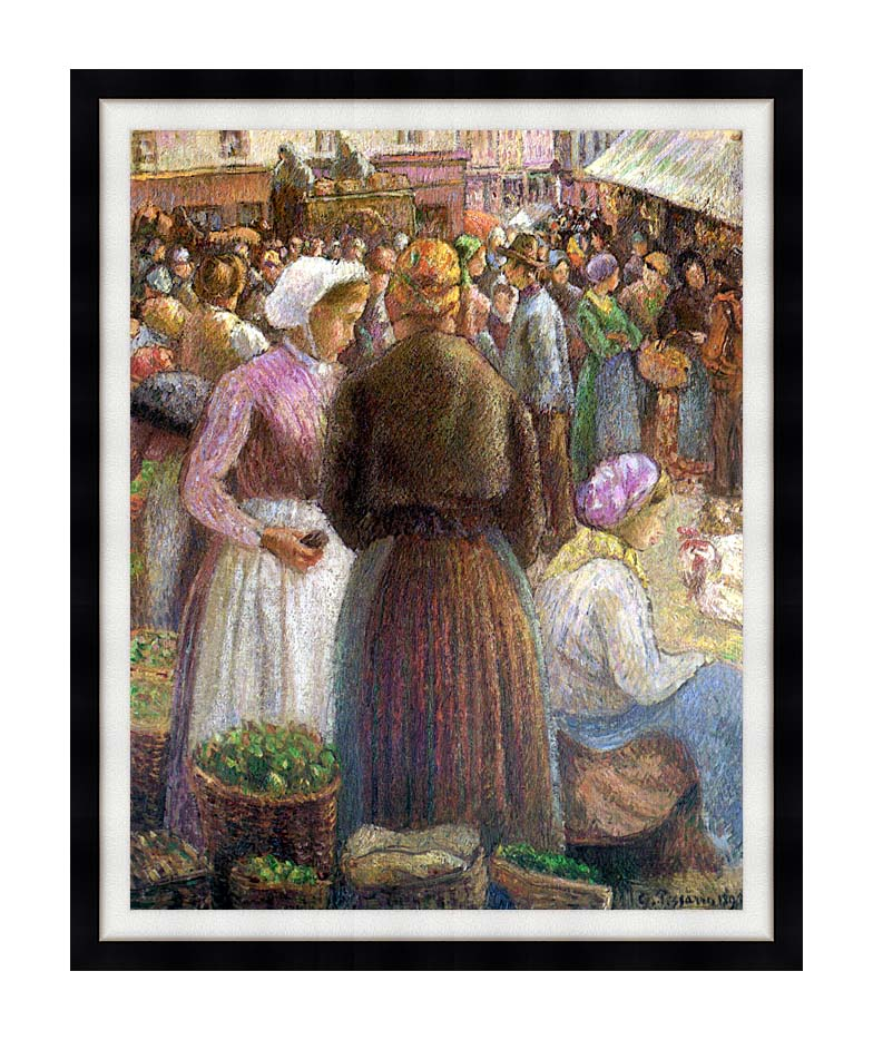 Camille Pissarro Market at Pontoise with Modern Black Frame