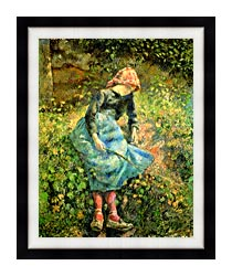 Camille Pissarro The Shepherdess canvas with modern black frame