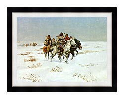 Charles Russell The Snow Trail canvas with modern black frame