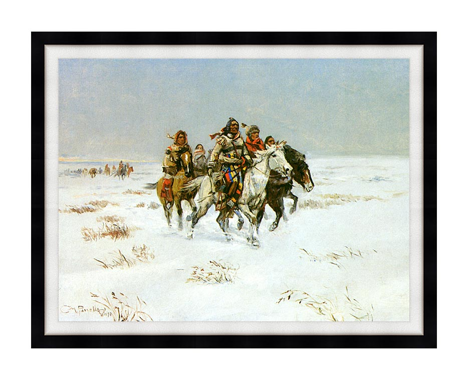 Charles Russell The Snow Trail with Modern Black Frame