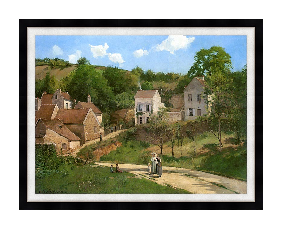 Camille Pissarro The Hermitage at Pontoise with Modern Black Frame