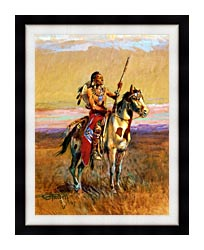 Charles Russell The Scout canvas with modern black frame