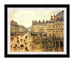 Camille Pissarro Place Du Theatre Francais Rain canvas with modern black frame