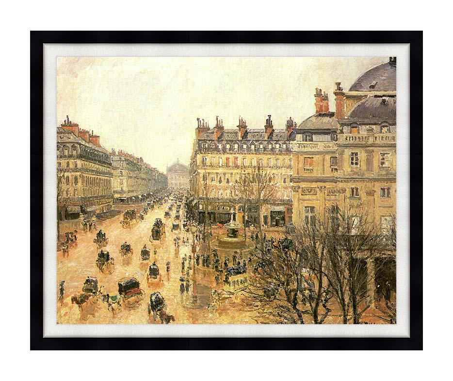 Camille Pissarro Place du Theatre Francais, Rain with Modern Black Frame