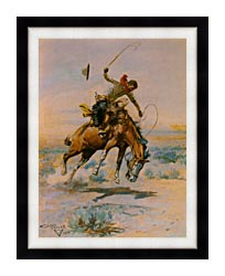Charles Russell The Bucker canvas with modern black frame