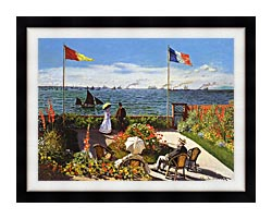Claude Monet Terrace At Sainte Adresse canvas with modern black frame