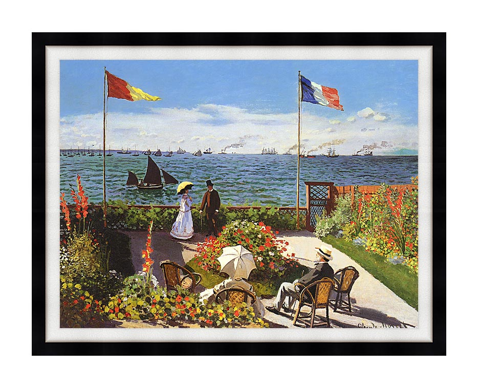 Claude Monet Terrace at Sainte-Adresse with Modern Black Frame