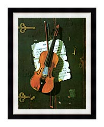 John Frederick Peto The Old Violin canvas with modern black frame