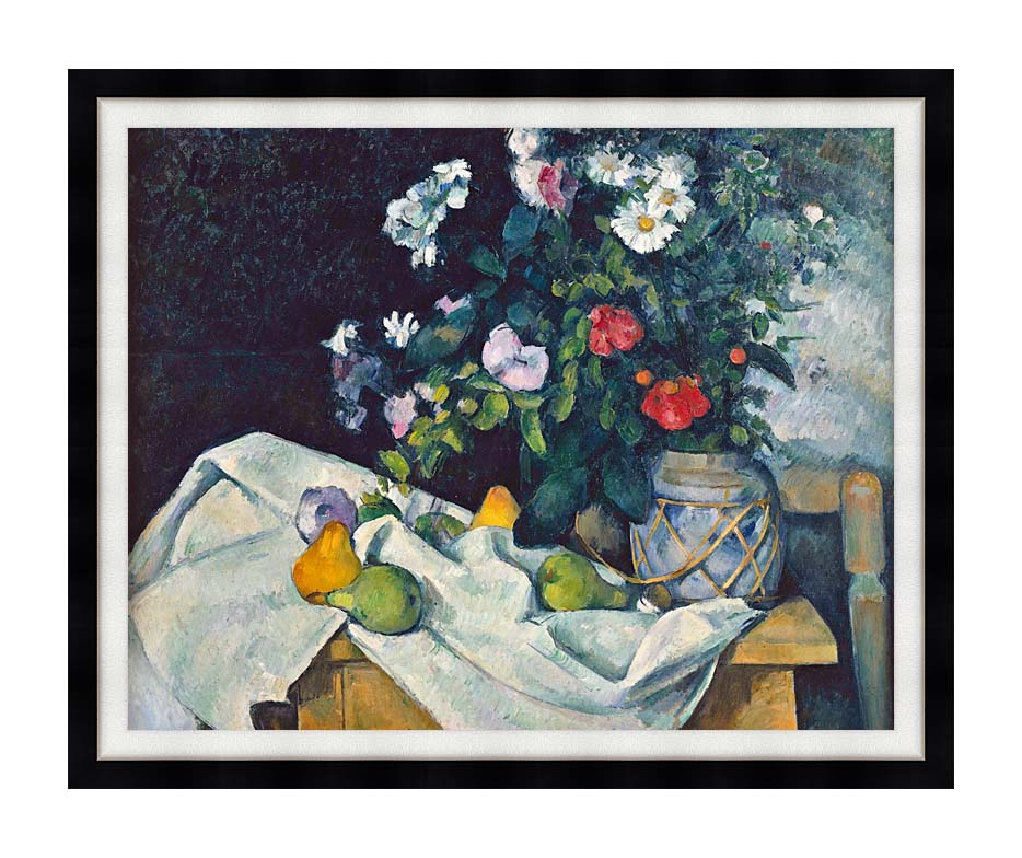 Paul Cezanne Flowers and Pears with Modern Black Frame