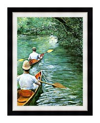 Gustave Caillebotte Canoeing canvas with modern black frame