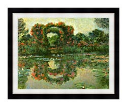 Claude Monet The Flowering Arches Giverny Detail canvas with modern black frame
