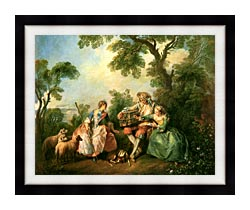 Nicolas Lancret The Birdcage canvas with modern black frame